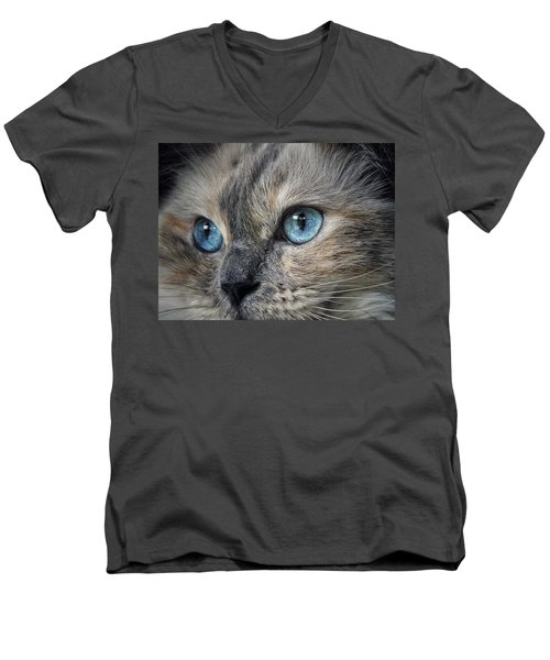 Men's V-Neck T-Shirt featuring the photograph Blue Eyed Girl by Karen Stahlros