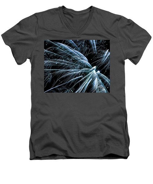 Men's V-Neck T-Shirt featuring the photograph Blue Fairy Fireworks #0710_3 by Barbara Tristan