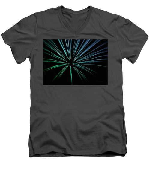 Men's V-Neck T-Shirt featuring the photograph Blue Firework by Chris Berry