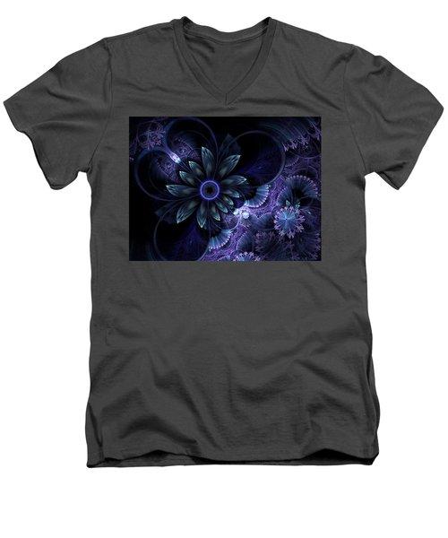 Blue Fleur And Lace Men's V-Neck T-Shirt