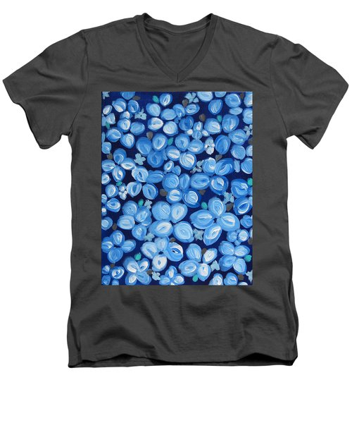 Blue Floral Frenzy Men's V-Neck T-Shirt