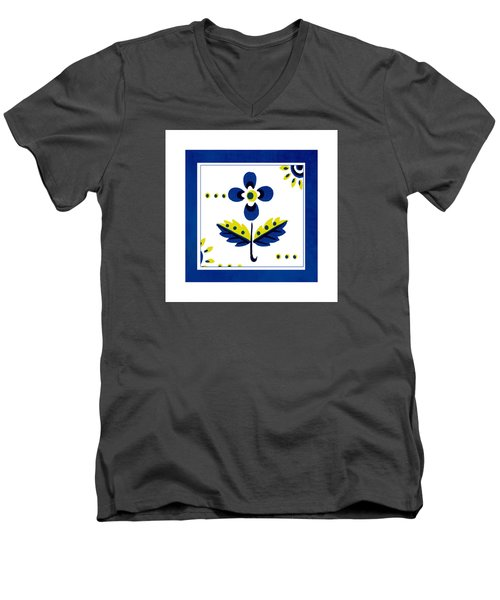 Blue Flower Illustration Men's V-Neck T-Shirt