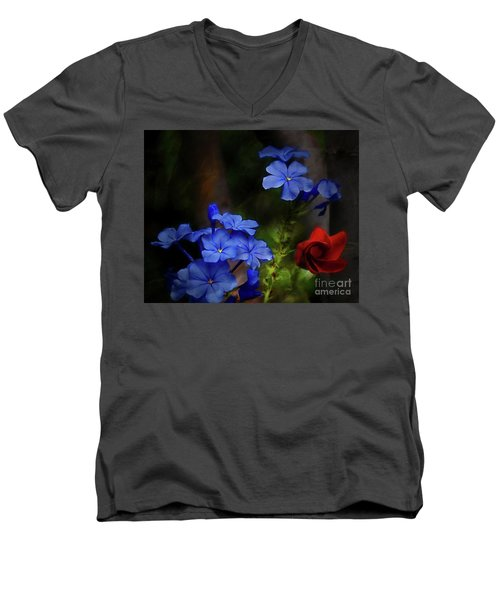 Blue Flowers Growing Up The Apple Tree Men's V-Neck T-Shirt