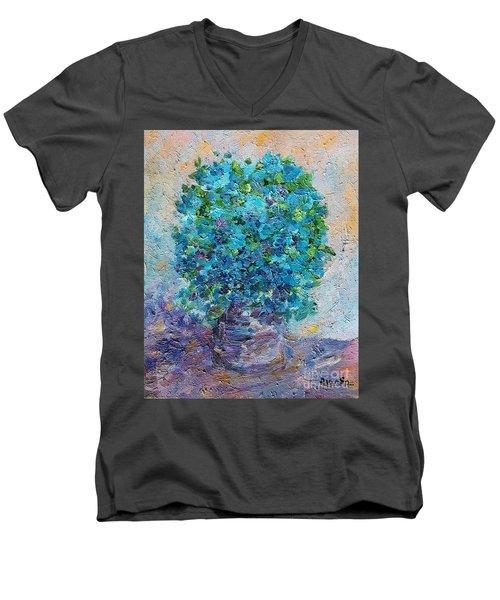 Blue Flowers In A Vase Men's V-Neck T-Shirt
