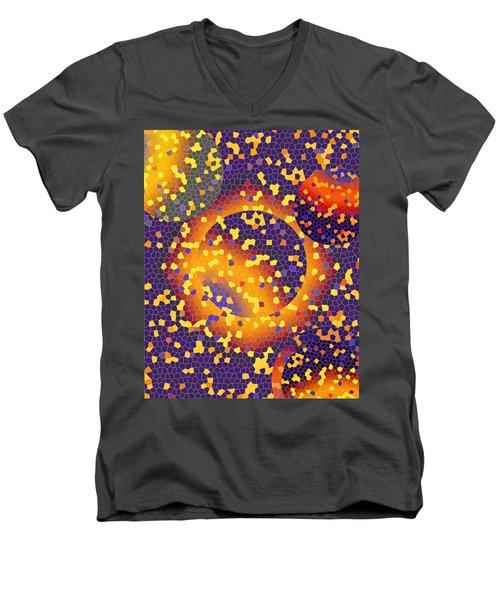 Men's V-Neck T-Shirt featuring the digital art Blue Galaxy by Lynda Lehmann