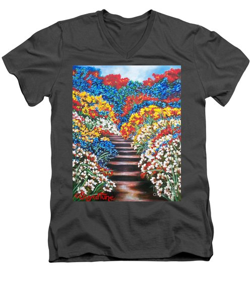 Men's V-Neck T-Shirt featuring the painting Blue Garden Cascade by Sigrid Tune