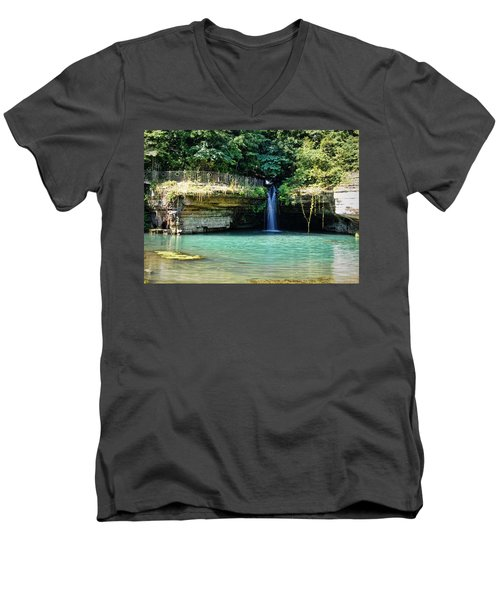 Men's V-Neck T-Shirt featuring the photograph Blue Glory by Cricket Hackmann