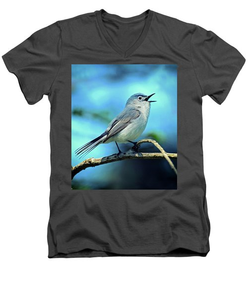 Men's V-Neck T-Shirt featuring the photograph Blue-gray Gnatcatcher by Rodney Campbell