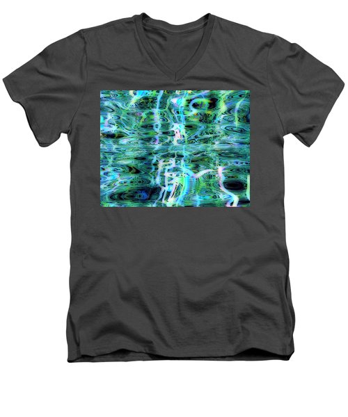 Men's V-Neck T-Shirt featuring the digital art Blue Green Abstract 091015 by Matt Lindley