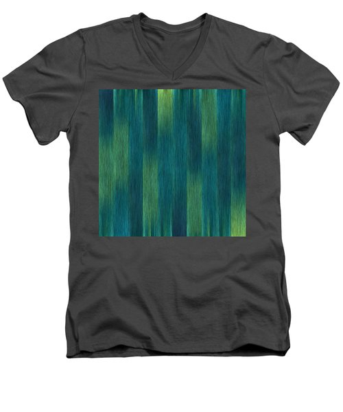 Men's V-Neck T-Shirt featuring the photograph Blue Green Abstract 1 by Terri Harper