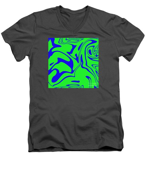Blue Green Retro Abstract Men's V-Neck T-Shirt