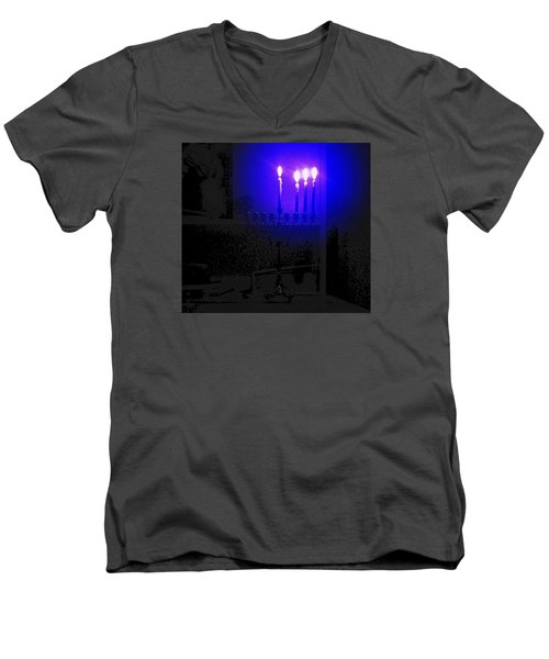 Blue Hanukkah On The Third Day Men's V-Neck T-Shirt