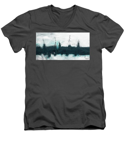Men's V-Neck T-Shirt featuring the painting Blue Harbour by Carmen Guedez