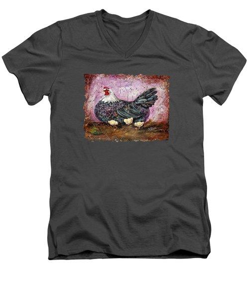 Blue Hen With Chicks Fresco Black Background Men's V-Neck T-Shirt