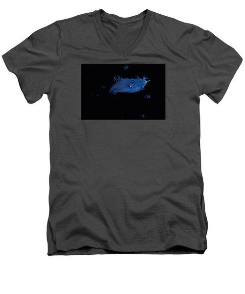 Blue Heron Feather Men's V-Neck T-Shirt