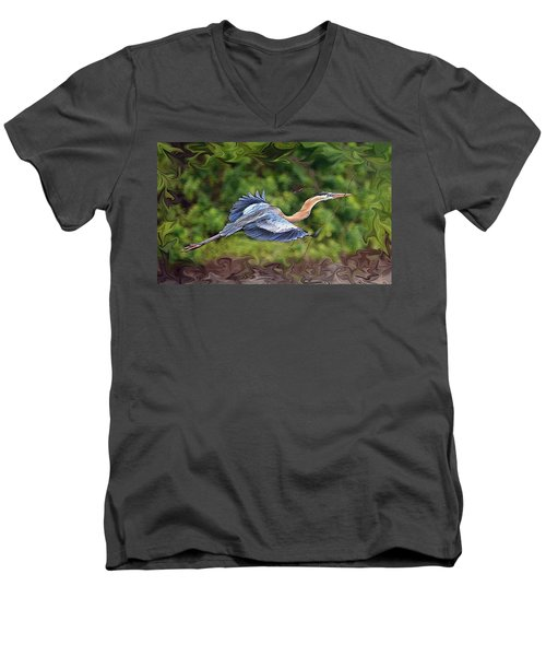 Men's V-Neck T-Shirt featuring the photograph Blue Heron Flight by Shari Jardina
