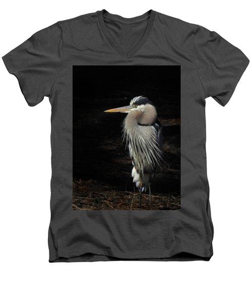 Blue Heron Gaze Men's V-Neck T-Shirt by Deborah Smith