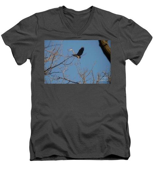 Men's V-Neck T-Shirt featuring the photograph Blue Heron Landing by David Bearden