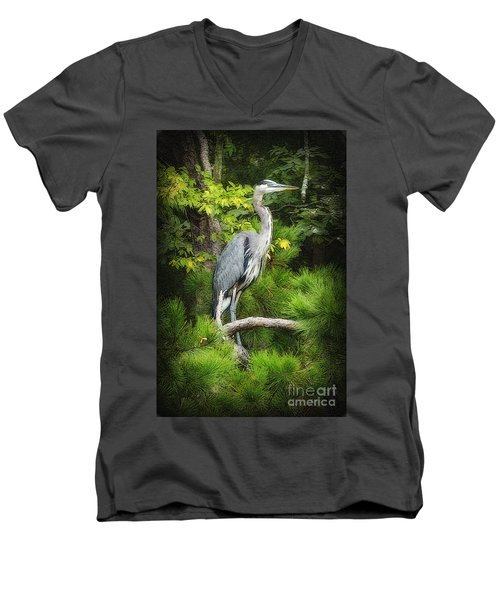 Blue Heron Men's V-Neck T-Shirt by Lydia Holly