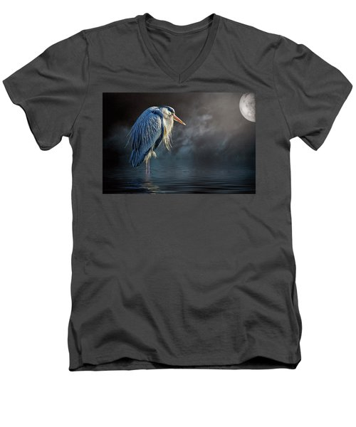 Blue Heron Moon Men's V-Neck T-Shirt by Brian Tarr
