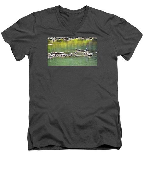 Blue Heron On The Chattahoochie Men's V-Neck T-Shirt by James Potts