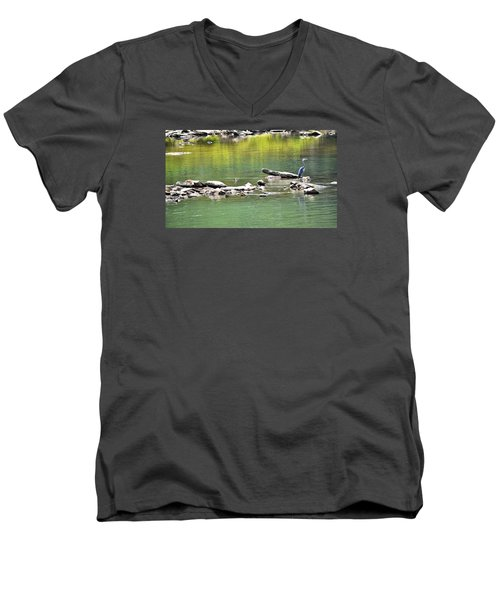 Blue Heron On The Chattahoochie Men's V-Neck T-Shirt