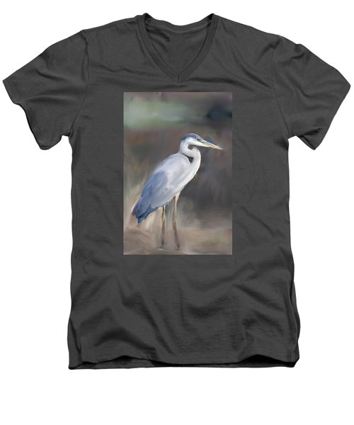 Blue Heron Painting  Men's V-Neck T-Shirt by Don  Wright