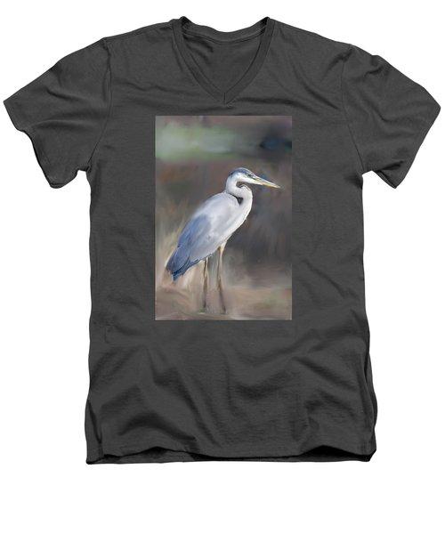 Blue Heron Painting  Men's V-Neck T-Shirt