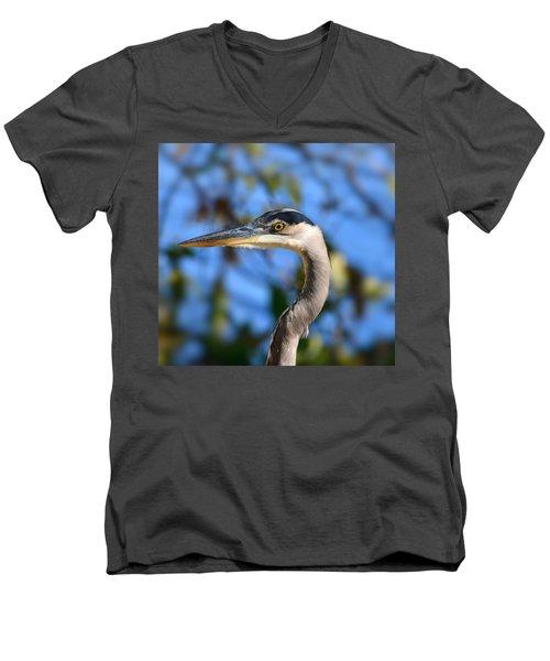 Blue Heron Profile Men's V-Neck T-Shirt by Kathy Eickenberg