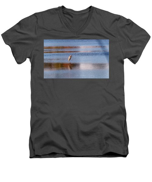 Blue Heron Standing In A Pond At Sunset Men's V-Neck T-Shirt