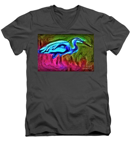 Men's V-Neck T-Shirt featuring the photograph Blue Heron by Walt Foegelle