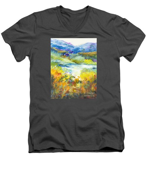 Blue Hills Men's V-Neck T-Shirt by Glory Wood