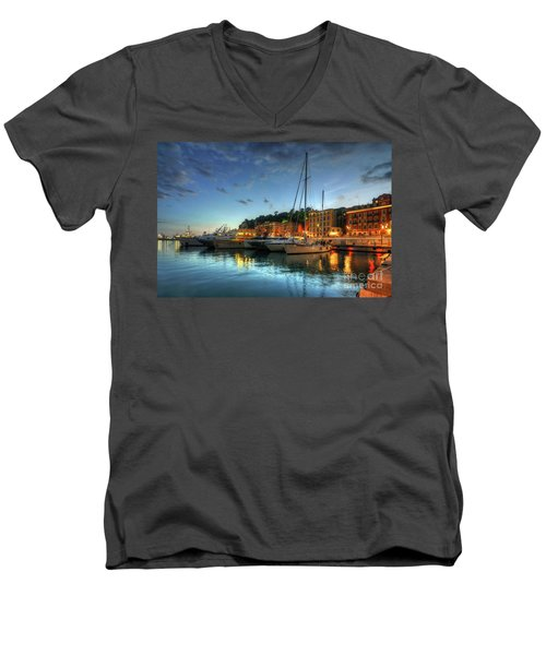 Men's V-Neck T-Shirt featuring the photograph Blue Hour At Port Nice 2.0 by Yhun Suarez