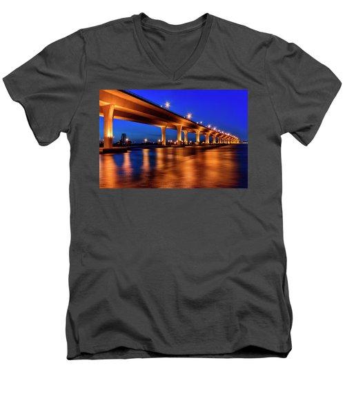 Blue Hour At Roosevelt Bridge In Stuart Florida  Men's V-Neck T-Shirt by Justin Kelefas