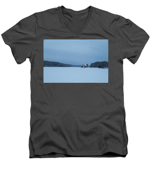 Blue Hour At The Old Stone Church Men's V-Neck T-Shirt