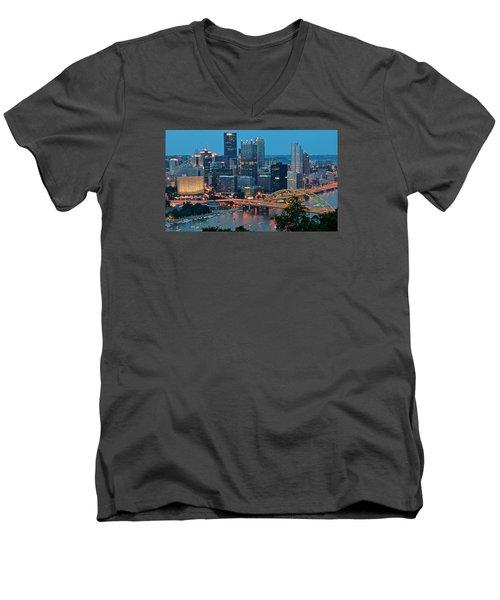 Blue Hour In Pittsburgh Men's V-Neck T-Shirt