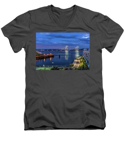 Blue Hour Over The Hudson Men's V-Neck T-Shirt by Jeffrey Friedkin
