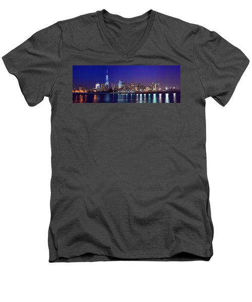 Blue Hour Panorama New York World Trade Center With Freedom Tower From Liberty State Park Men's V-Neck T-Shirt