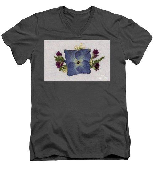 Blue Hydrangea Pressed Floral Design Men's V-Neck T-Shirt