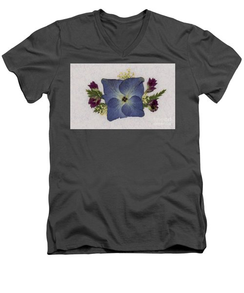 Blue Hydrangea Pressed Floral Design Men's V-Neck T-Shirt