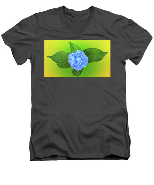 Men's V-Neck T-Shirt featuring the photograph Blue Hydrangea by Mike Breau