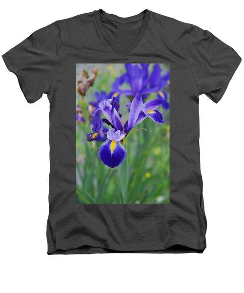 Blue Iris Flower Men's V-Neck T-Shirt