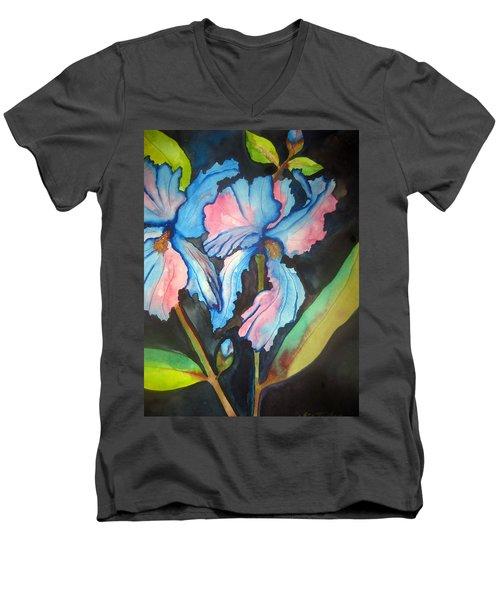 Blue Iris Men's V-Neck T-Shirt by Lil Taylor