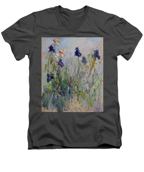 Blue Irises In The Field, Painted In The Open Air  Men's V-Neck T-Shirt by Pierre Van Dijk