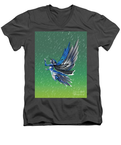 Blue Jay Fairy Men's V-Neck T-Shirt by Stanley Morrison