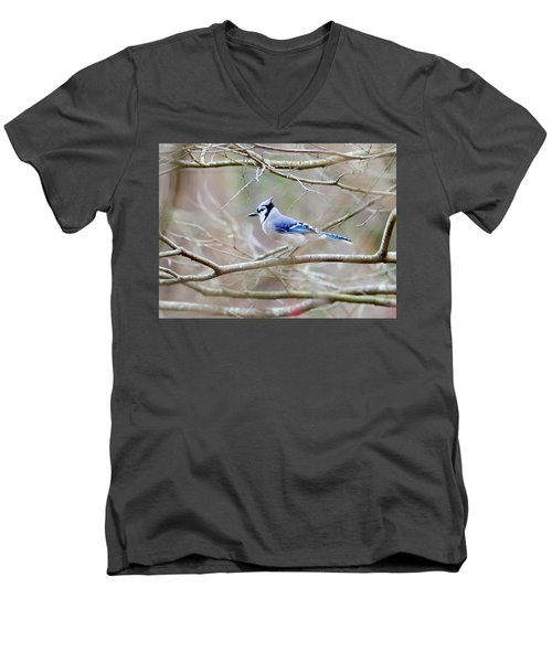 Men's V-Neck T-Shirt featuring the photograph Blue Jay by George Randy Bass