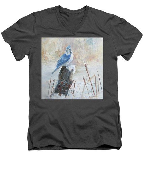 Blue Jay In Winter Men's V-Neck T-Shirt