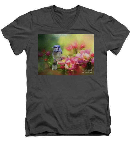 Blue Jay On A Blooming Tree Men's V-Neck T-Shirt