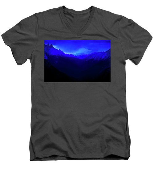 Men's V-Neck T-Shirt featuring the photograph Blue by John Poon