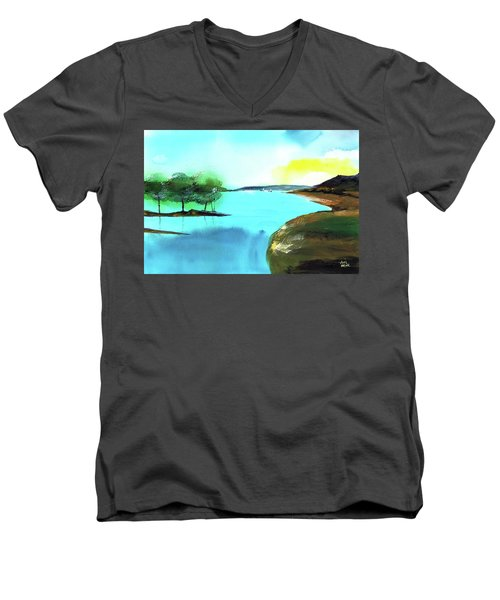 Men's V-Neck T-Shirt featuring the painting Blue Lake by Anil Nene